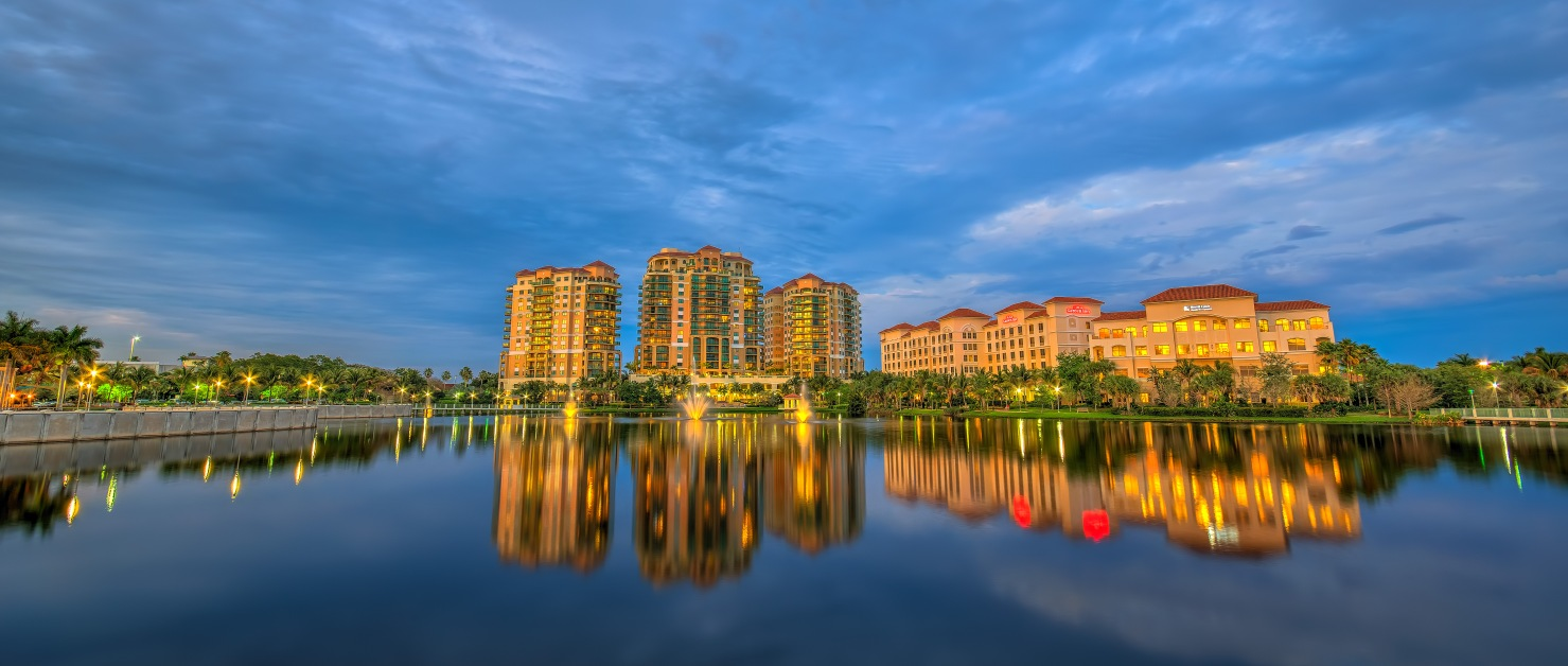 Palm Beach Gardens Downtown Cityscape at Lake