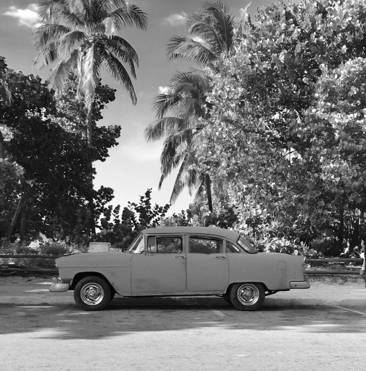 Cuban Car Black and White