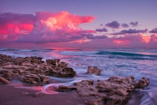 Pink Velvet Sunrise Over Carlin Park Beach Jupiter Florida